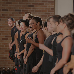 People doing a fitness workout class