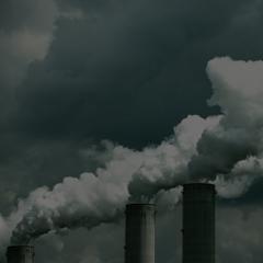Factory chimneys blowing smoke