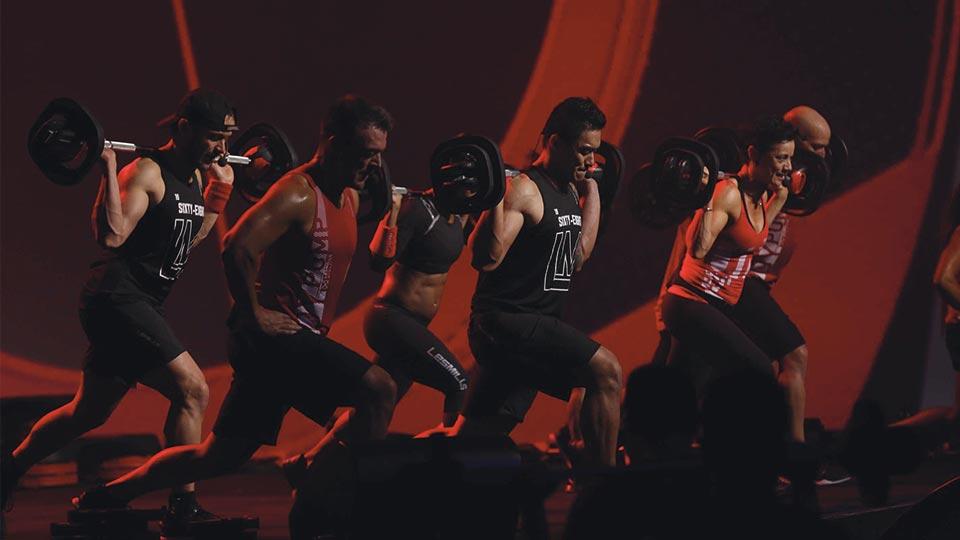 Les Mills BODYPUMP instructors during a workout