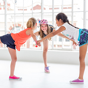 Three children doing a fitness workout