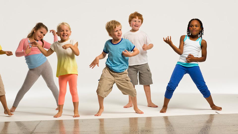 Children in a fitness class