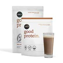 Les Mills Good Protein packets and glass