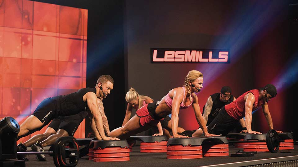 Fitness instructors presenting an exercise workout