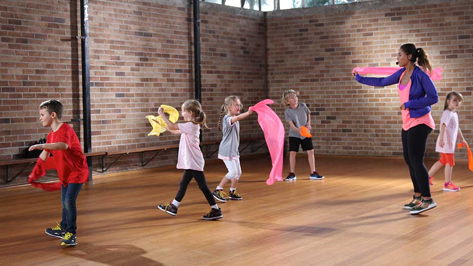 Five children in a exercise class