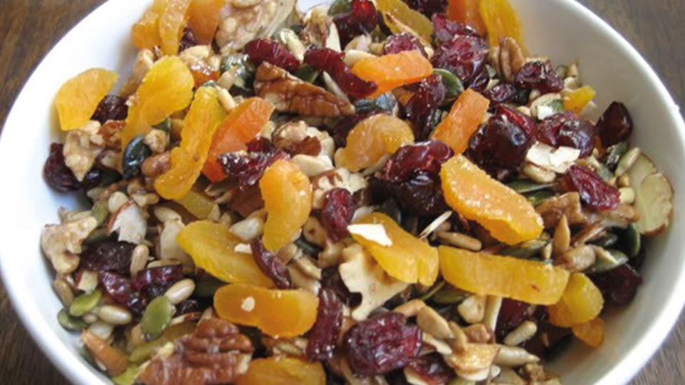 dry roast trail mix with dried apricots in a bowl