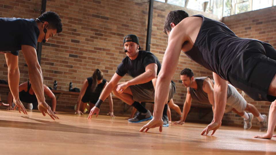Group fitness workout with an instructor