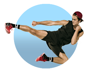 Guy performing a Jump Side Kick