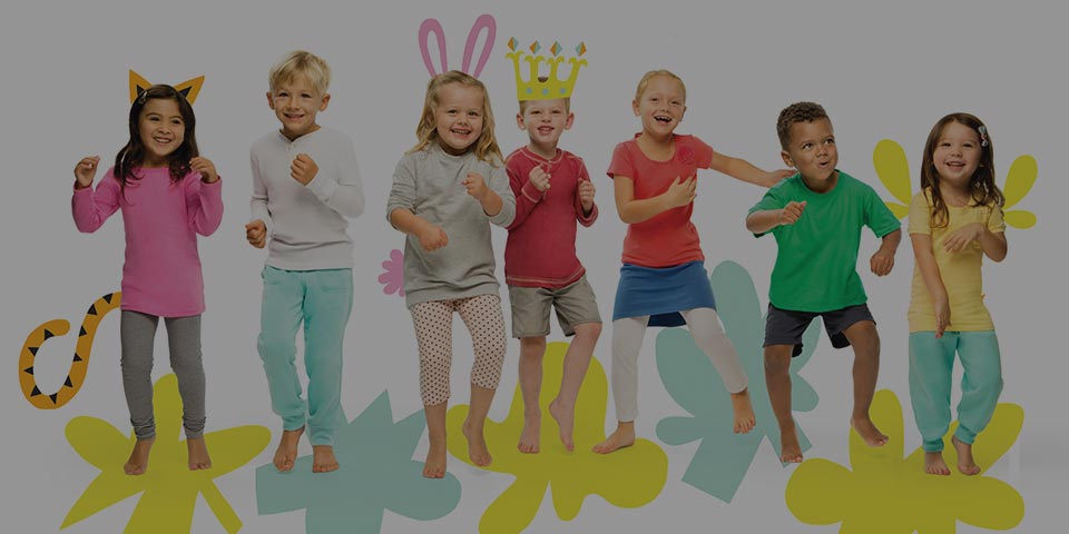 Seven children in an exercise class